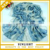 new design fashion lady voile scarf custom printed long scarf