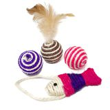 Cat Toys Interactive Feather Toy Mouse Sisal Balls for Cat