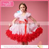 Kids fancy red feather bubble dress costumes, party dresses for girl 1-9 years