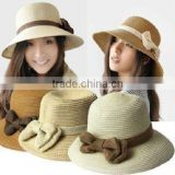 Fashion Womens bow Summer Beach Sun Straw Hat
