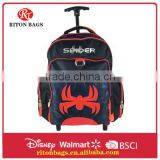 Top Selling Kids Trolley Bags with Spider Picture Cheap Kids Trolley School Bag for Boys