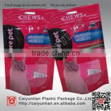 Recycle standing plastic pet food bag with top zip, custom made cat food packaging pouches