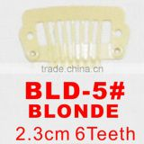 BLD-5# Retail and wholesale 23mm long Blonde color straight 6 teeth easy snap clips for hair extensions wigs wefts weavings