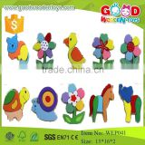 EN71 standard funny cartoon animal wooden 3D puzzle for baby