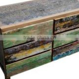 Recycled Teak Boat Sideboard with 6 Drawers
