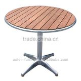 Aluminum frame wood garden round dining table wood sets