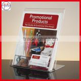 W-shaped Acrylic POS Display Stand with name card,Acrylic Brochure Holder with black base