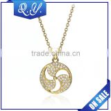 Shining Diamond Ball Pendant Necklace Gold Plated Long Chain Necklace Jewelry