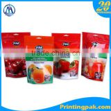 stand up pouch for packing tea coffee protein powder cookies snack food packaging bag with factory supply for apple chip