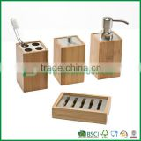 FB7-2019 bamboo bathroom accessories set with soap dispenser, soap dish and so on