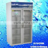 LC/S 1200K used glass door display freezers drink milk drug fridge solid door Vertical display freezer