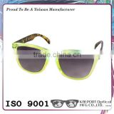 Particular neon color optical frame matched tortoiseshell temples plastic sunglasses
