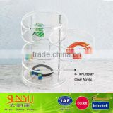 Clear Acrylic Jewelry Display Case 4 tiers Acrylic Storage Box Display Rolling Display Stand