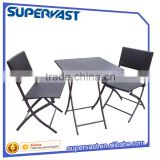 Wholesale Cheap Outdoor Resin Wicker 3PC Bistro Set Folding Chiar