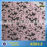 Good quality pink embroidery fabric lace for lady dress hot selling heavy chemical nylon fabric
