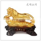 24K Golden color resin tiger statue , fengshui tiger