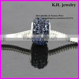 KJL-A0110 wholesale loose big hole European beads,crystal doop blue rhinestone jewelry making spacer beads charm