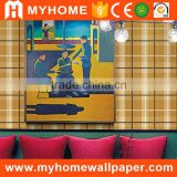 Good quality MyHome wholesale 3d design panel effect wallpaper elegant decorative wall paper