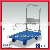 Guangdong 300kg Load Foldable Four Wheel Plastic Platform Mute Trolley Hand Cart with Folding Handle