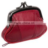 Factory Supplier Womens Leather Kiss Lock Coin Purse Fashion Coin Case