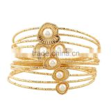 MultiLayer Iron Wire Women Cuff Bangle Fashion Wide Bangles & Bracelets With Pearl Jewelry Accessories
