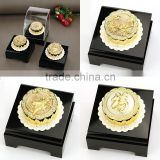 24K Gold Foil Mooncake statue for Jewelry Store decoration with Acrylic Display Box