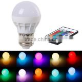 3W E27 AC 85-265V RGB LED Light Bulb Lamp Color Changing+IR Remote Control CJ-RGBQPD-001