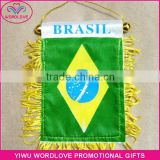 wholesale polyester printed national Brazil tassel flag/custom satin Brazilian fringe flag