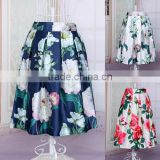 Hot Fashion Women Elastic High Waist Floral Casual Party Pleated Midi Slim Skirt