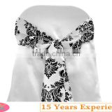 white and black flocking damask wedding chair sash with chair cover