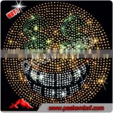 New Custom Iron on Rhinestone Appliques Emoji Heat Transfer Presss for Women's Shirt
