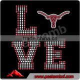 Custom Football Logo Rhinestone Horns Bling Transfer Design For Tshirt