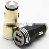 Multi-function Metal aluminum alloy safety hammer double USB car charger