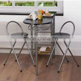 Black Dinning Dinner set Breakfast bar with 2 Chairs