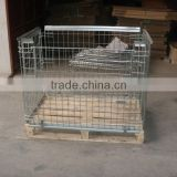 Foldable Wire Mesh Container used with wooden pallet