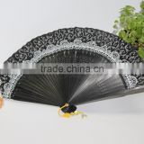 Chinese folding hand real silk bamboo fan printed by customer