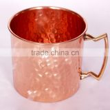 MANUFACTURER BPA FREE 100% PURE COPPER HAMMERED MOSCOW MULE DRINKING MUG WITH BRASS HANDLE