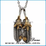 Popular high quality jewelry claw feather never fade stainless steel pendant for men and women