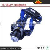 T6 960lm 3 Mode Powerful led headlamp wholesale rechargable head flashlight