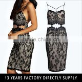 ladies new model hollow out dress & ladies fashion sex open back lace dresses with eyelash
