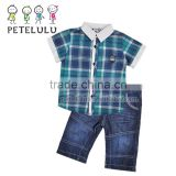 Petelulu Factory Wholesale Pice of Denim Jeans and Cotton Yarn Dyed Shirt Blue Fabric