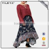 High quality skirts floral pattern printed bohemian long maxi skirt women custom skirt