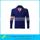 High Quality Royal Blue Buttoned Golf Sports Cable Knit Fabric Sweater Fabric