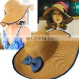 Fashionable summer beach hat and straw paper hats with decoration