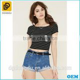 Boat neck short stripe summer beautiful girl corp t shirt