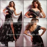 Sexy Front Slit Sweetheart Beaded Black Taffeta One Sleeve Evening Dresses Short Sleeves Evening dress