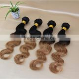 Grade 7a ombre Brazilian virgin hair packaging 100% remy human hair weave two tone color hair bundles