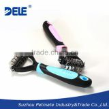 Double sided 2cr13 material blades dog deshedding tool & pet grooming brush