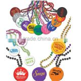 Colorful plating color acrylic beads Party Mardi Gras Beads Necklace With custom medallion league