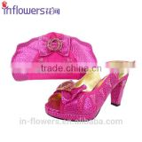 Wholesale high heel party use shoe and matching bag sets for lady